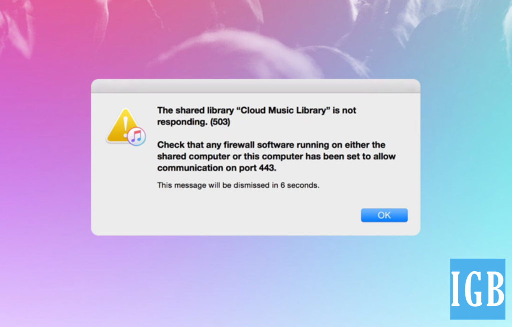 Apple Music 503 iCloud Connection error