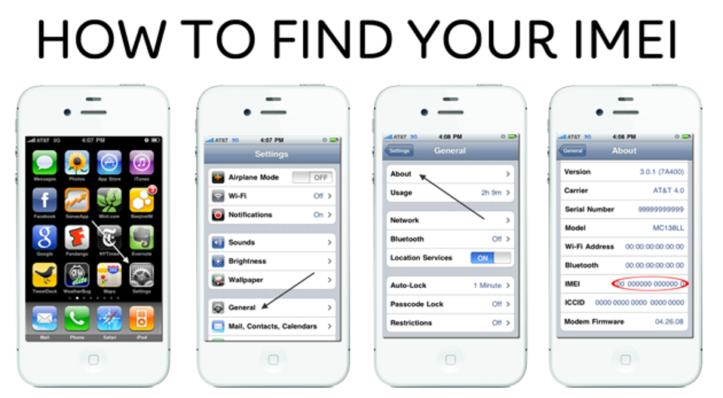 Find your iPhone IMEI Number