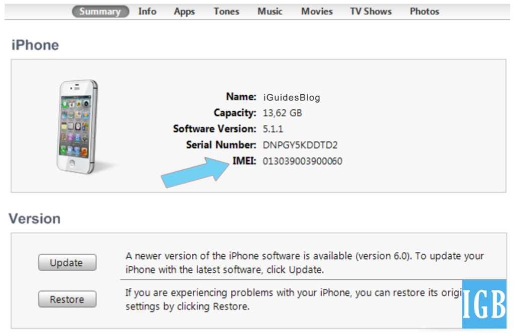 How To Find iPhone IMEI Code by iTunes