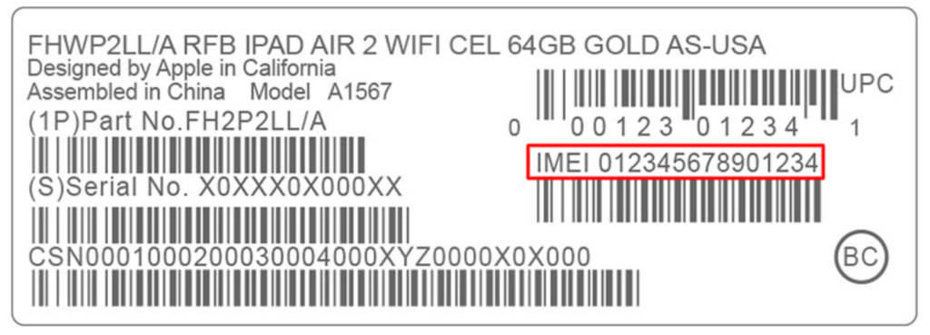 iPhone IMEI number by Device's Original Box
