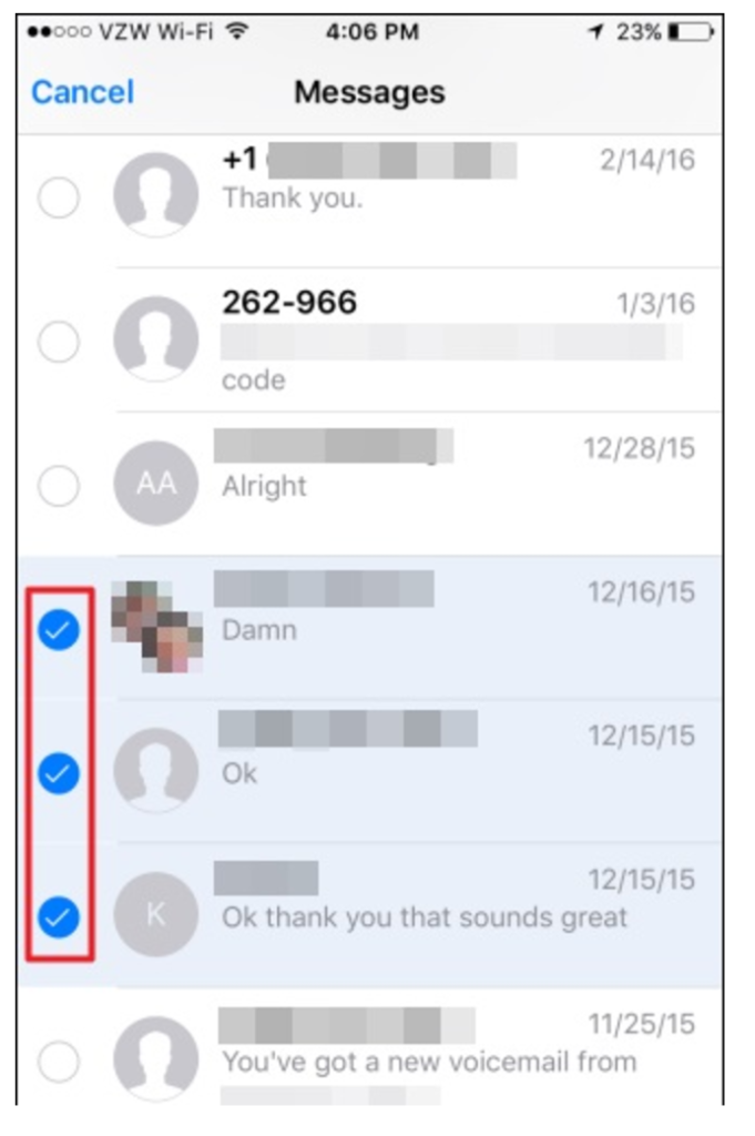 Select Voicemail Messages