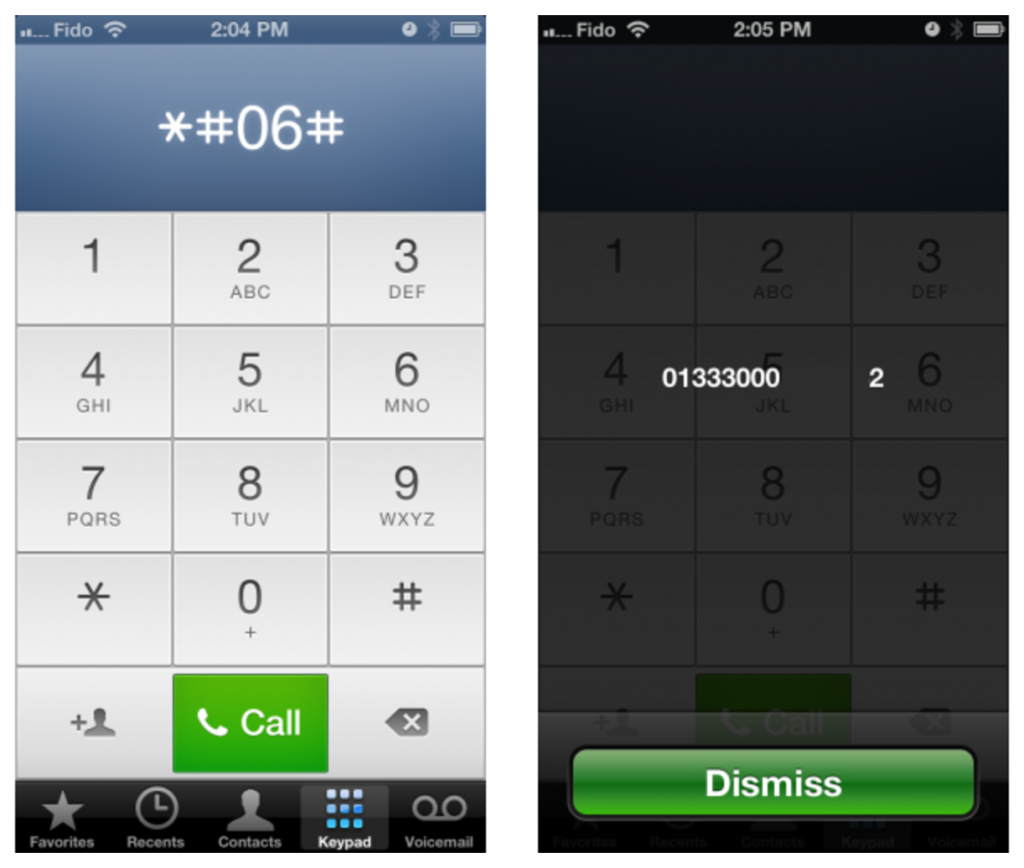 iPhone IMEI Number by *#06