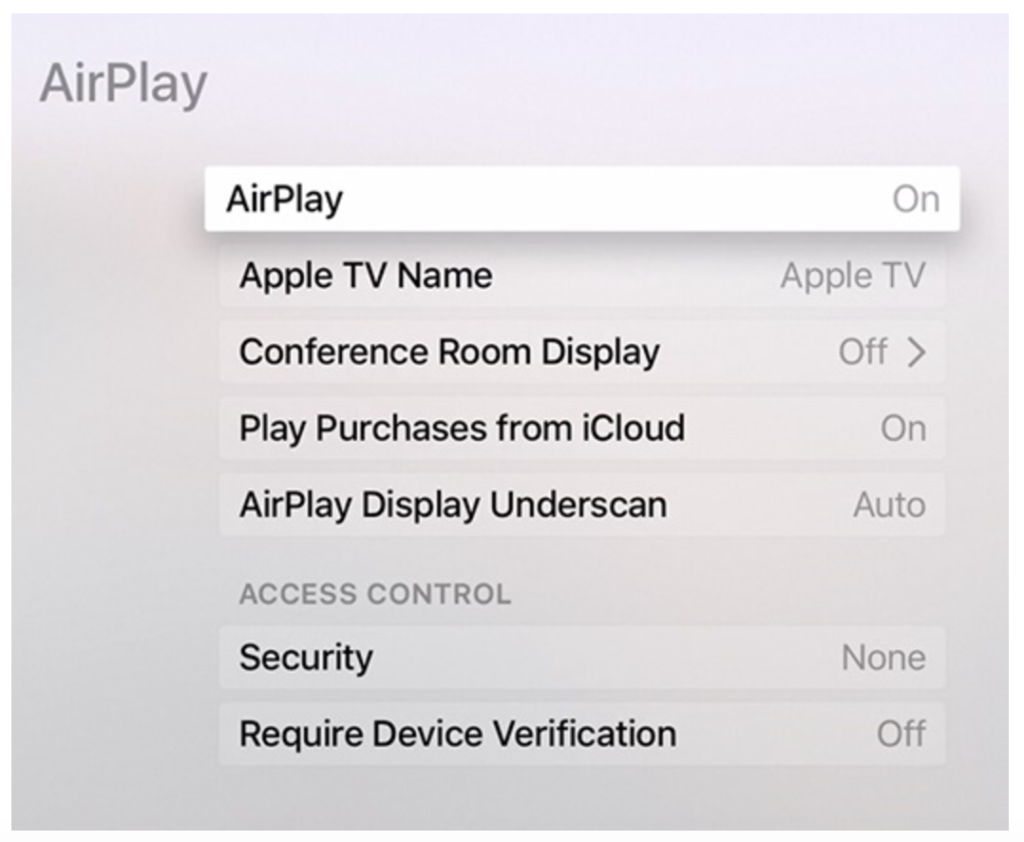 AirPlay ON or OFF